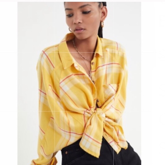 c95d55f7 Urban Outfitters Tops | Uo Yellow Drapey Flannel Button Down Shirt ...